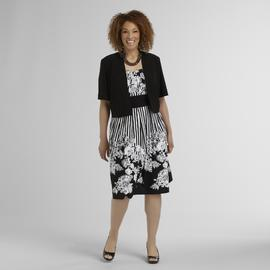 R & M Richards Women's Plus Dress & Jacket - Floral & Stripes at Sears.com