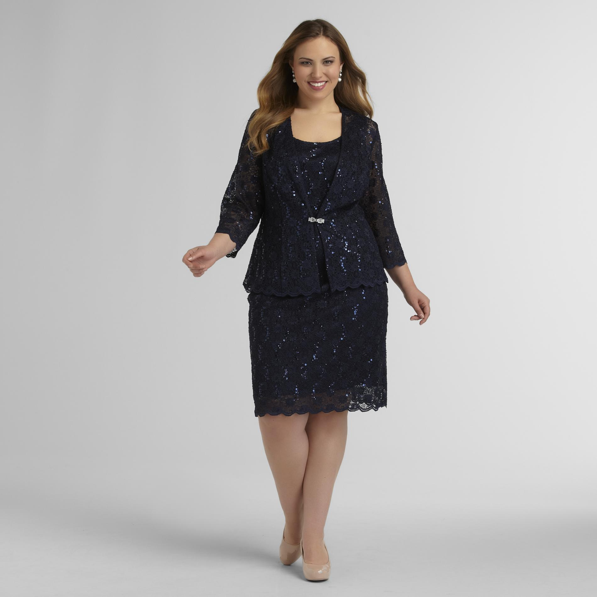R & M Richards Women's Plus Lace Dress & Jacket - Sequins at Sears.com
