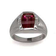 Sterling Silver Lab Created Ruby and Diamond Men's Ring at Kmart.com