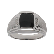 Sterling Silver Onyx and Diamond Men's Ring at Kmart.com