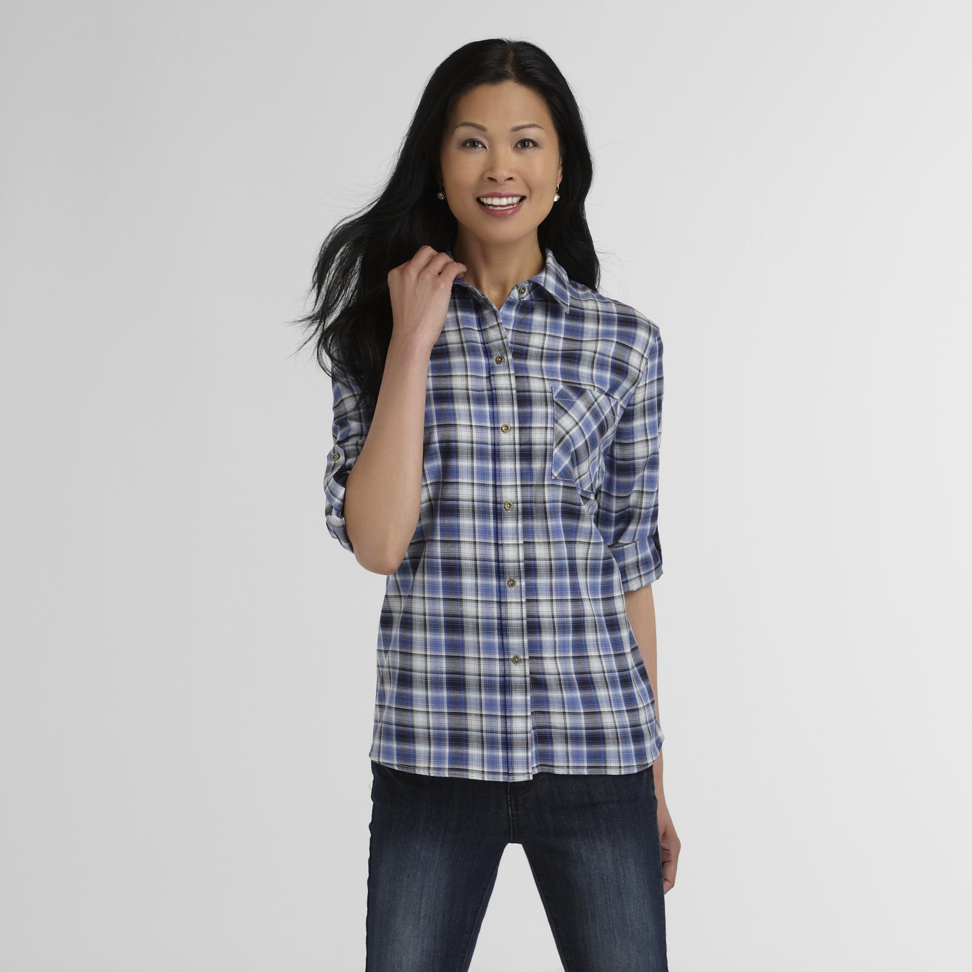 Laura Scott Women's Tabbed-Sleeve Shirt - Plaid at Sears.com