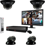 "Revo 4 Ch. 1TB DVR Surveillance System with 4 700TVL 100 ft. Night Vision Cameras & 18.5"" Monitor at Kmart.com"