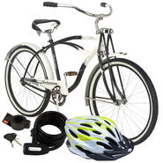 Schwinn Drifter Cruiser Bike with Helmet & Lock Bundl...