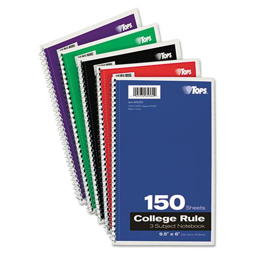 TOPS Coil-Lock Wirebound Notebooks College/Medium 9-1/2 x 6 White 150 Sheets