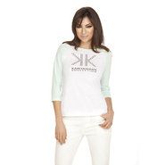 Kardashian Kollection Women's Baseball T-Shirt - Studded Logo at Sears.com