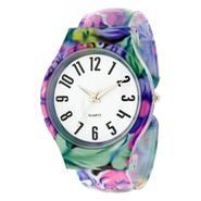 Ladies' Flower-print Hinged Bangle Watch w/ White Round Dial at Kmart.com