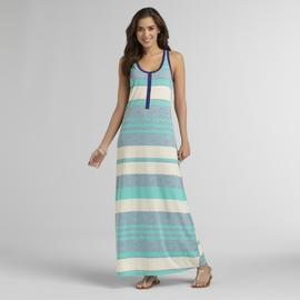 Route 66 Women's Mock Henley Maxi Dress - Striped at Kmart.com