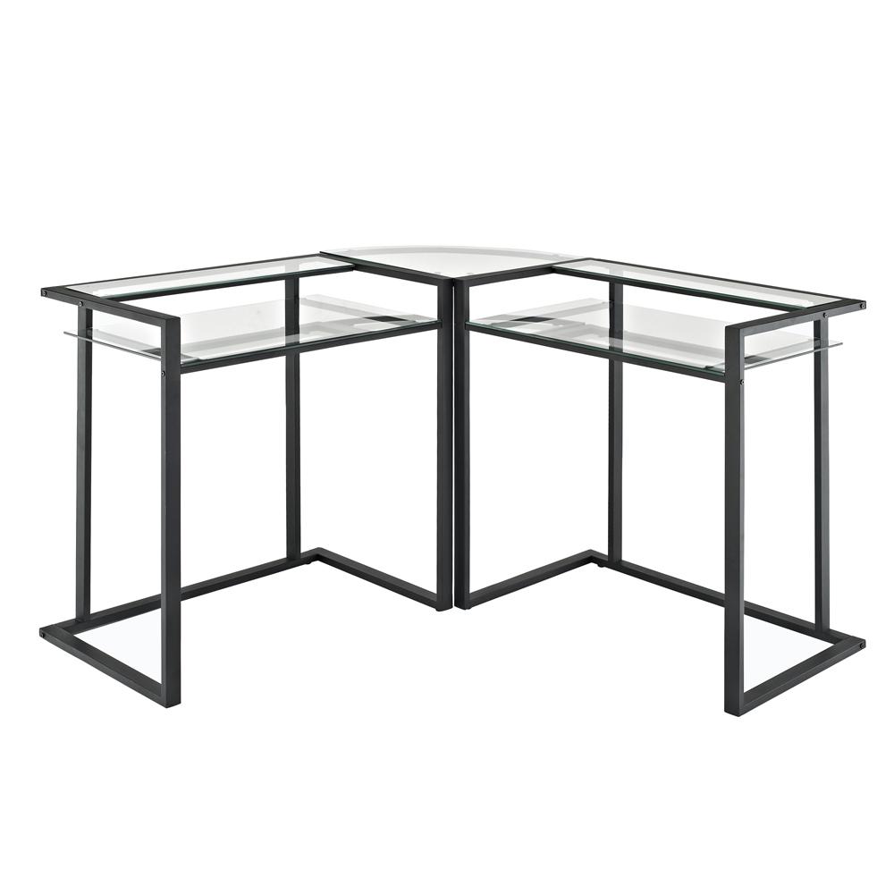 D56C33CB C-Frame Glass & Metal L-Shaped Computer Desk (D56C33CB), Clear/Black PartNumber: 00841520000P