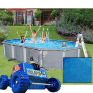 24' x 15' Oval Above Ground Pool, Solar Cover and Rover Cleaner Bundle at Sears.com