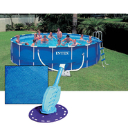 18'  Round Above Ground Pool with Saltwater System, Solar Cover and Cleaner Bundle at Sears.com