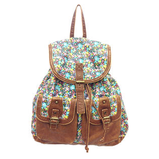 Bongo Junior's Backpack - Floral & Faux Leather