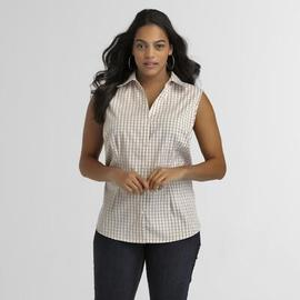 Basic Editions Women's Sleeveless Blouse - Gingham at Kmart.com
