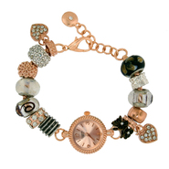 American Exchange Ladies Rose Gold Plated Dress Watch Beaded Bracelet at Sears.com