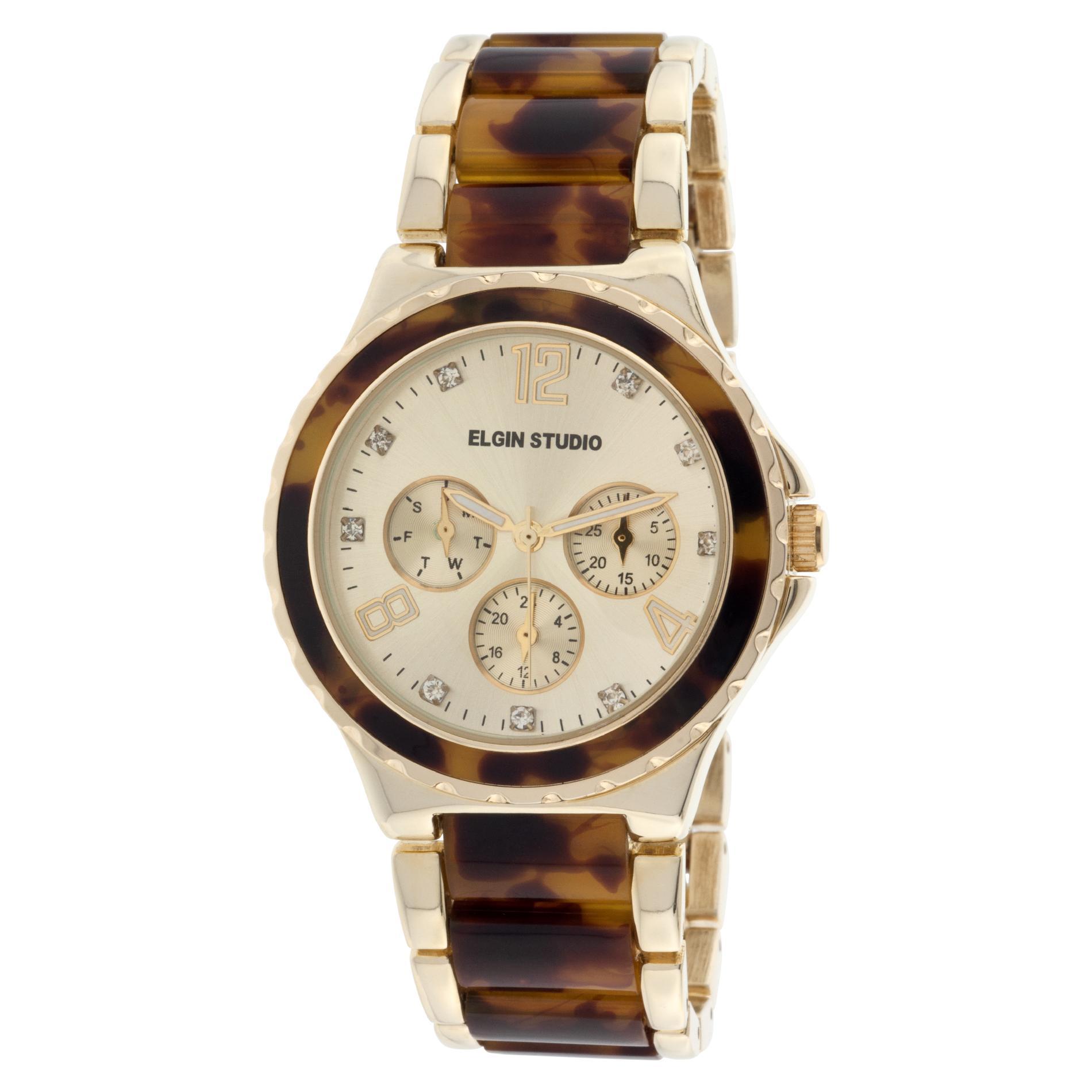 Elgin Ladies' Gold-tone Tortoise Shell Link Bracelet Watch w/ Multi Gold-tone Round Dials