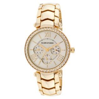 Elgin Ladies' Gold-tone Link Bracelet Watch w/ Multi White Round Dials