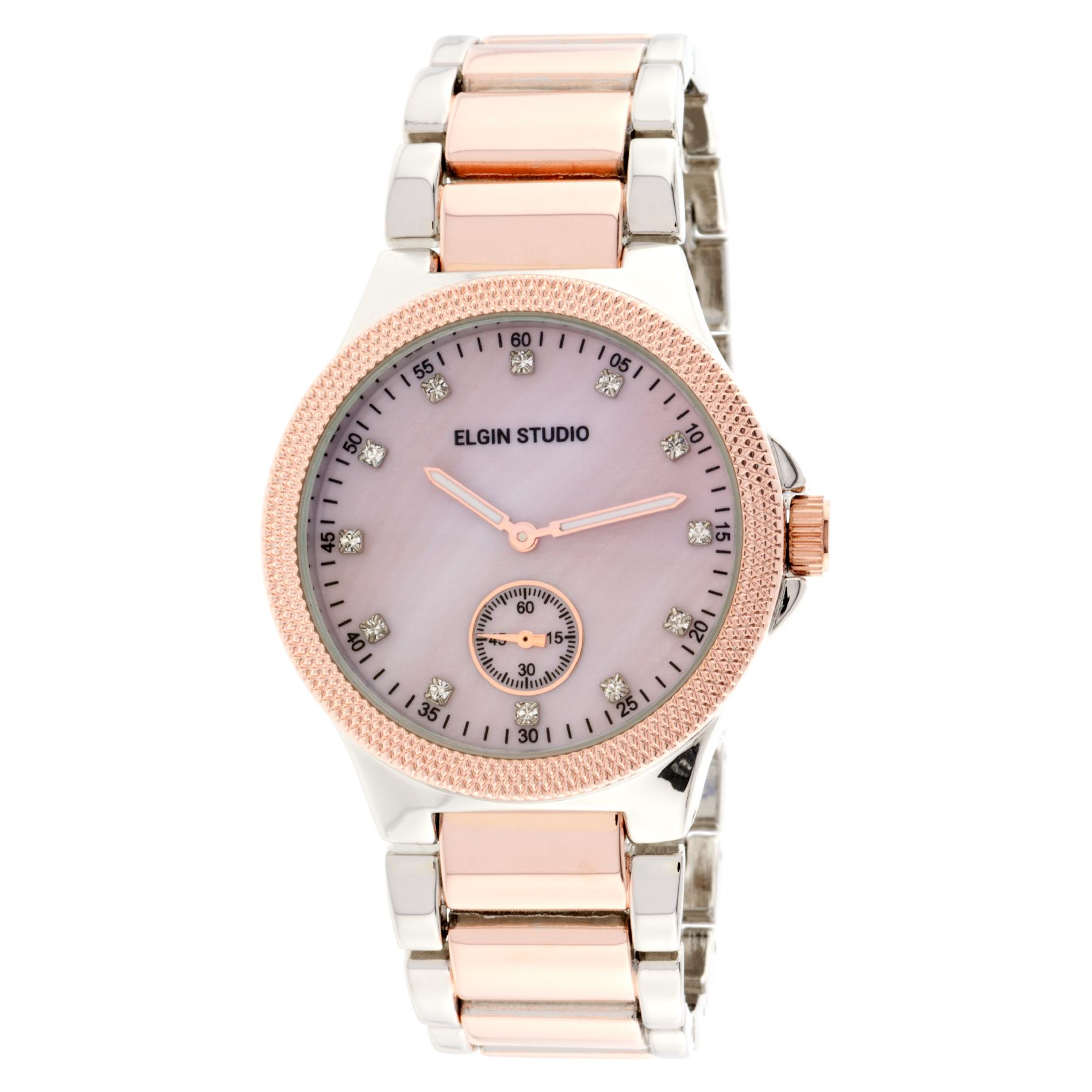 Elgin Ladies Two-tone Bracelet Watch w/ Pink Mother-of-Pearl Dial and Crystal Accents
