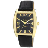 Armitron Men's Black Leather Strap Gold-Tone Cushion Day-Date Watch w/ Black Dial at Kmart.com