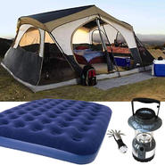 Northwest Territory Mountain Lodge Tent - 16' x 16' with Queen Size Air Bed & Lantern Bundle at Kmart.com