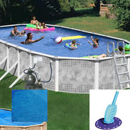 45' X 18' Heritage Diamond Oval Pool, Solar Cover and Cleaner Bundle at Kmart.com