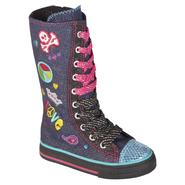 Bongo Toddler Girl's Sparkle Canvas Tall Boot Charmaine - Navy at Sears.com