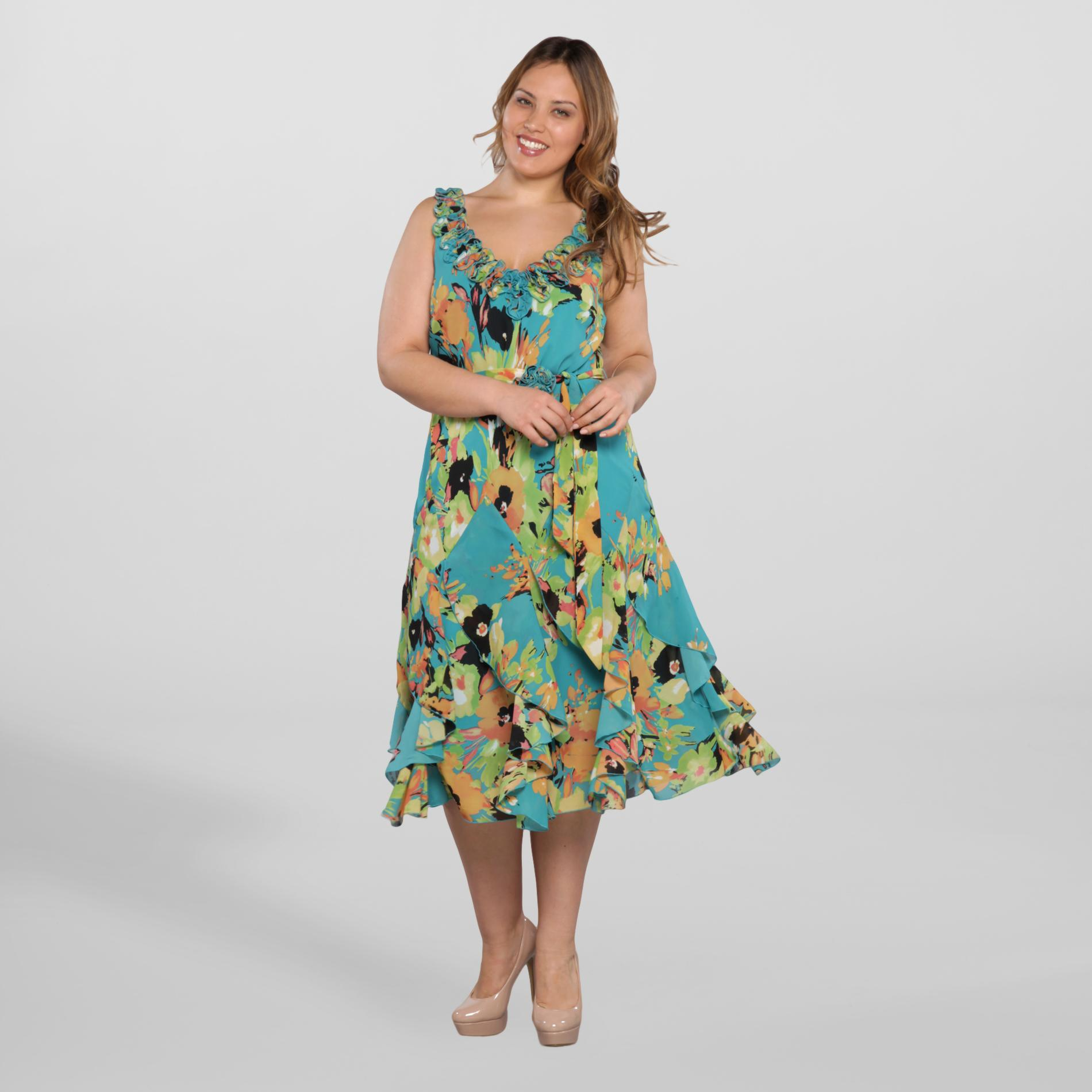 Robbie Bee Women's Plus Sleeveless Dress - Leaf Print at Sears.com