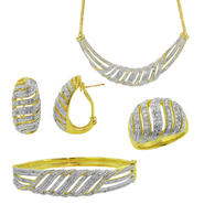 4-Piece Diamond Gold Finish Earrings, Necklace, Bracelet and Ring at Sears.com