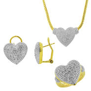 3 Piece 1/4 cttw Rhodium Plated Diamond Ring, Pendant, and Earrings Set at Sears.com