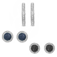 3 Piece 1/7cttw Rhodium Plated Diamond Accent Earrings Set at Sears.com