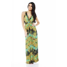 AX Paris Women's Indian Paisley Elasticated Strap Green Dress - Online Exclusive at Kmart.com