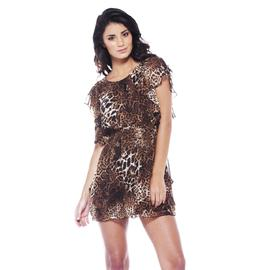 AX Paris Women's Animal Print Elasticated Waist Chiffon Dress - Online Exclusive at Kmart.com