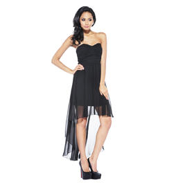 AX Paris Women's Strapless Chiffon Drape Back Black Dress  - Online Exclusive at Sears.com