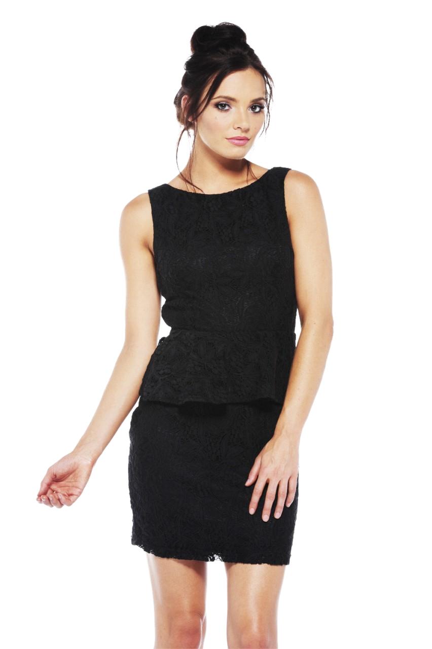 Women's Lace Peplum Black Dress -