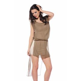 AX Paris Women's Chiffon Over Lay Drop Back Khaki Dress - Online Exclusive at Sears.com