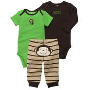 Carter's Infant Boy's 3Pc Bodysuits & Pants - Monkey at Sears.com