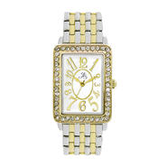 Jaclyn Smith Ladies' Two-Tone Tank Bracelet Watch w/ White Rectangle Dial & Crystal Accents at Kmart.com