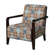 Bentwood Arm Accent Chair with Brown, Tan & Blue Patterned Fabric at Kmart.com