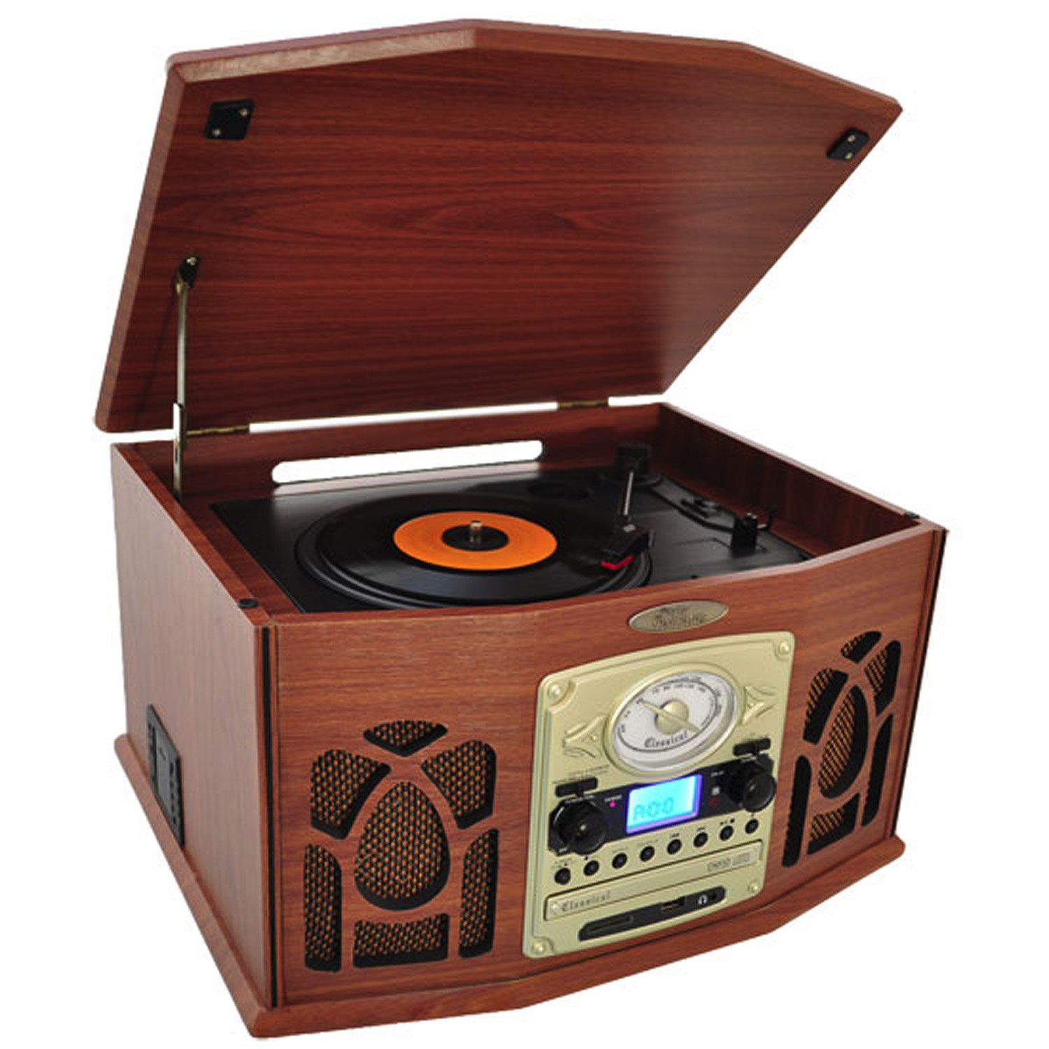 Pyle Pyle Retro Vintage Turntable with CD/MP3/Casette/Radio/USB/SD With Aux-In And Vinyl-to-MP3 Encoding & iPod Player & iPod Player PartNumber: 018V006288796000P KsnValue: 018V006288796000 MfgPartNumber: 97079775M