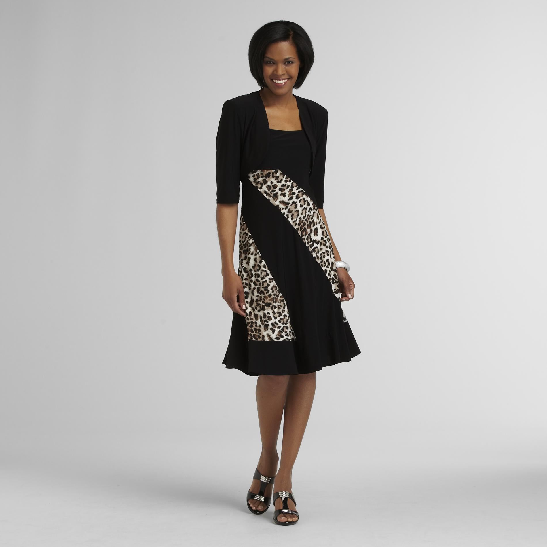 R & M Richards Women's Knit Dress & Jacket - Leopard Print at Sears.com