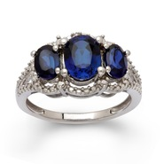 Sterling Silver Created Blue Sapphire 3 Stone Diamond Ring at Sears.com