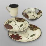 Jaclyn Smith 16-Piece Dinnerware Set - Flowers at mygofer.com
