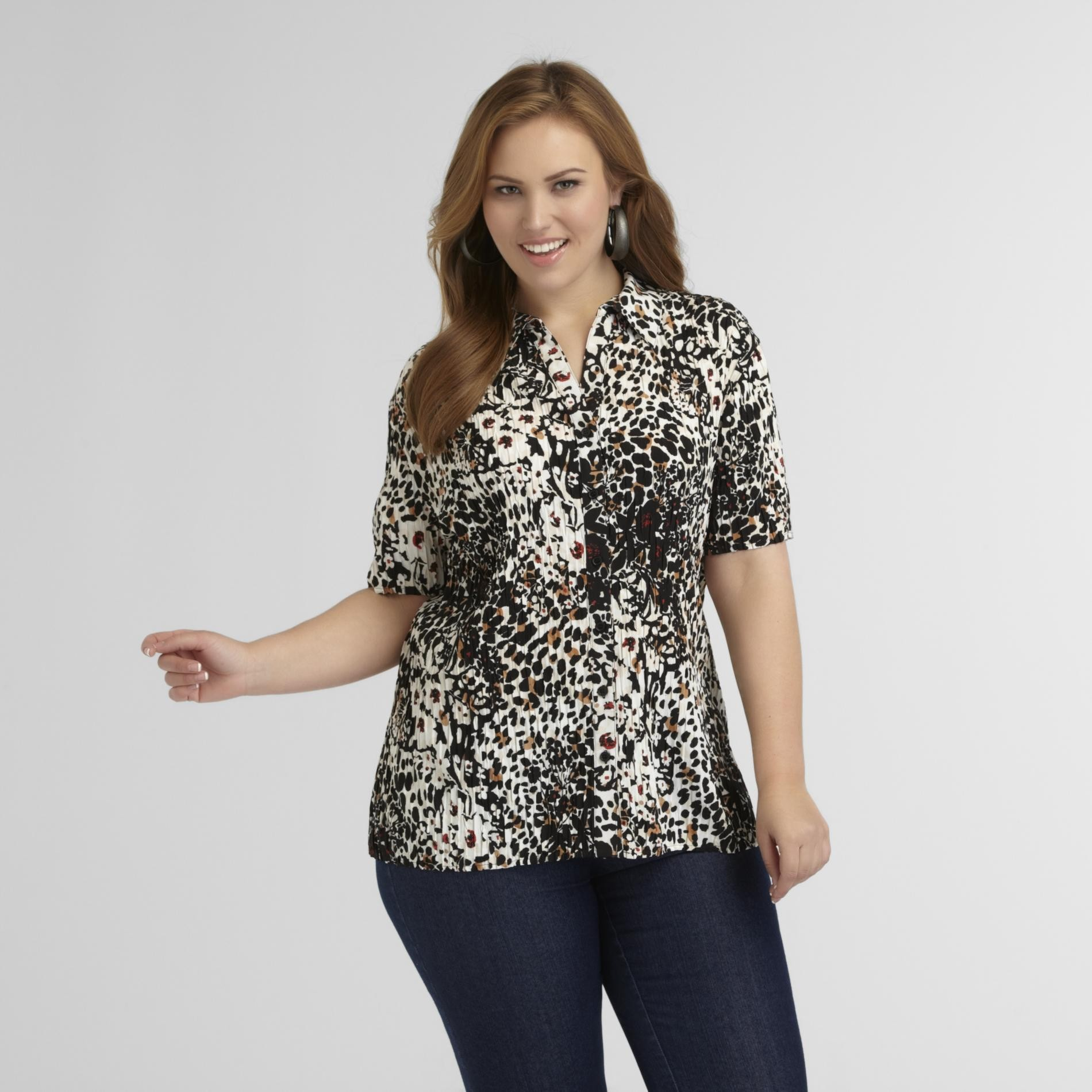Women's Plus Crinkled Camp Shirt - Animal Print