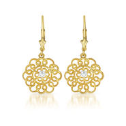 COLLETTE Z Cubic Zirconia (.925) Sterling Silver Gold Plated Lace Flower Euro Earrings at Sears.com