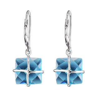 COLLETTE Z Cubic Zirconia (.925) Sterling Silver Blue Topaz Square Drop Euro Earrings