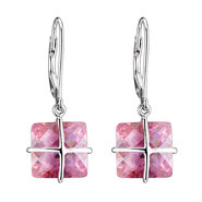 COLLETTE Z Cubic Zirconia (.925) Sterling Silver Pink Square Drop Euro Earrings at Sears.com