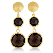 COLLETTE Z Sterling Silver Gold Plated Round Smokey  Quartz Drop Earrings at Sears.com