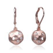 COLLETTE Z Cubic Zirconia (.925) Sterling Silver Rose Plated Round Brushed Earrings at Kmart.com