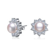 COLLETTE Z Cubic Zirconia (.925) Sterling Silver Round Flower Pearl Earrings at Sears.com