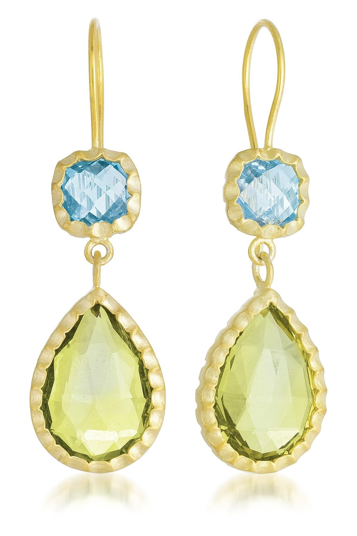 COLLETTE Z Sterling Silver Gold Plated Lemon And BlueTopaz Drop Earrings