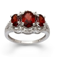 Sterling Silver Garnet 3 Stone Diamond Ring at Sears.com
