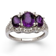 Sterling Silver Amethyst 3 Stone Diamond Ring at Sears.com